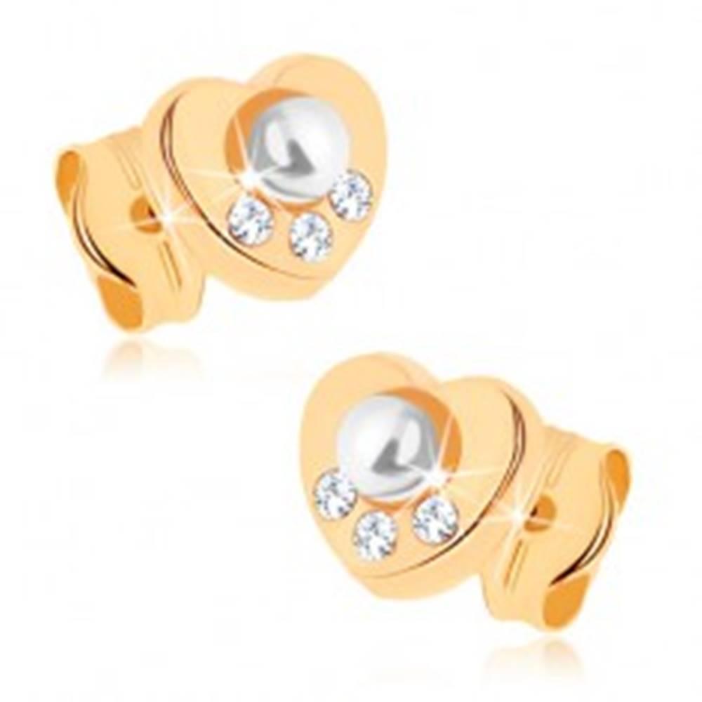 Šperky eshop Náušnice v žltom 9K zlate - srdiečko, biela perla, zirkóniky čírej farby