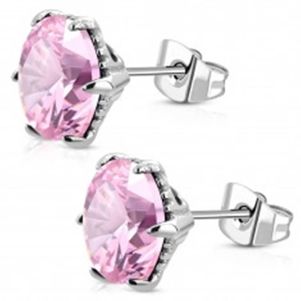 Šperky eshop Náušnice z chirurgickej ocele striebornej farby, ružový zirkón v kotlíku, 9 mm