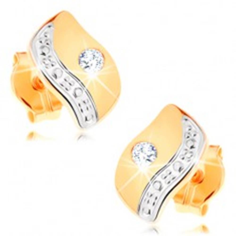 Šperky eshop Náušnice zo 14K zlata - dvojfarebný zvlnený pásik zdobený čírym zirkónikom