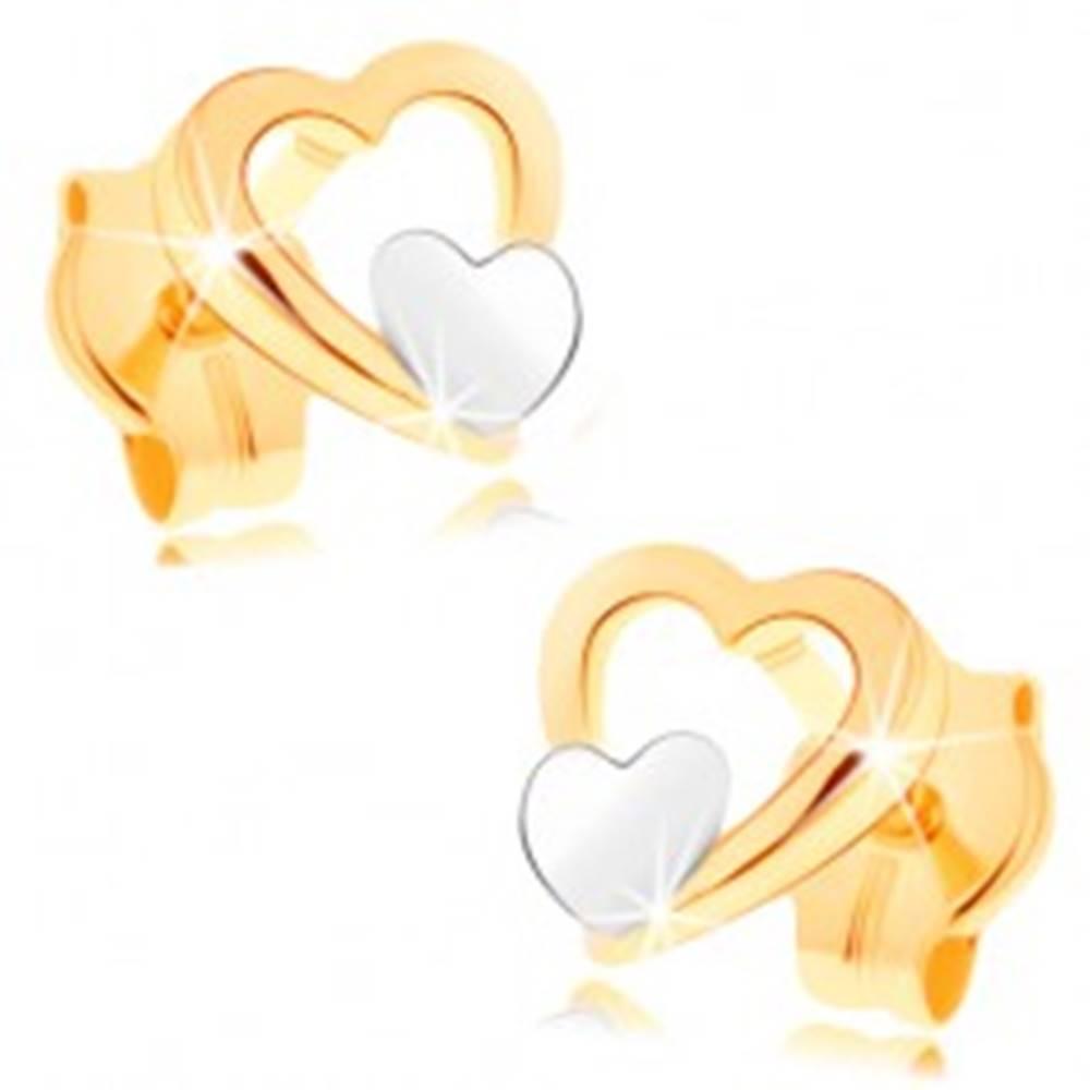 Šperky eshop Náušnice zo 14K zlata - lesklý obrys srdca, malé ploché srdiečko v bielom zlate