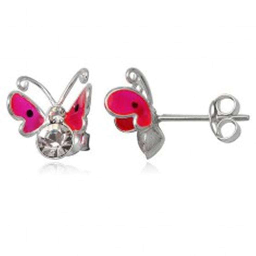 Šperky eshop Náušnice zo striebra 925 - ružový lietajúci motýľ, dva zirkóny