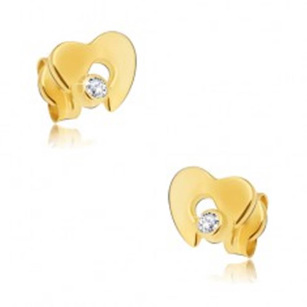 Šperky eshop Náušnice zo žltého 14K zlata - ploché lesklé srdce s výrezom, zirkón