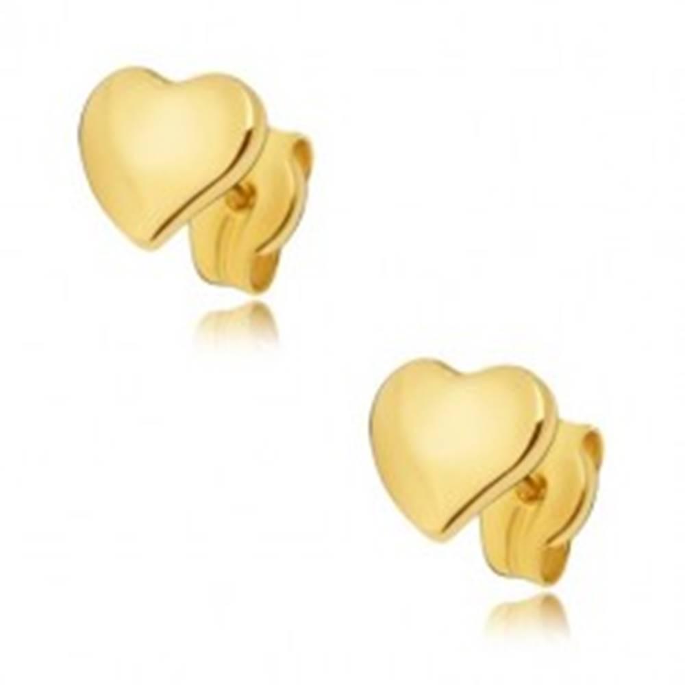 Šperky eshop Náušnice zo žltého 14K zlata - ploché zrkadlovolesklé nesúmerné srdce
