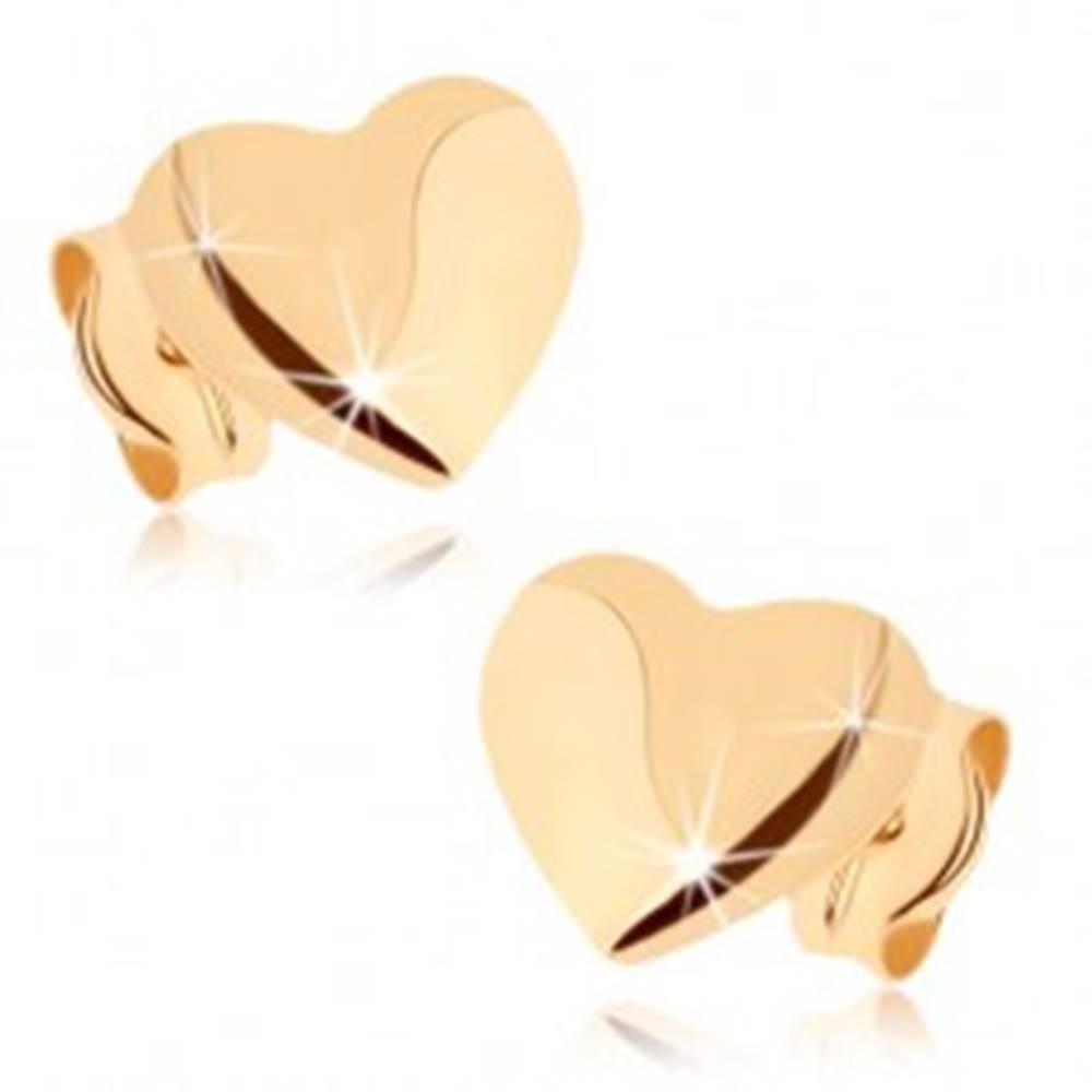Šperky eshop Náušnice zo žltého 9K zlata, lesklo-matné vypuklé srdiečka
