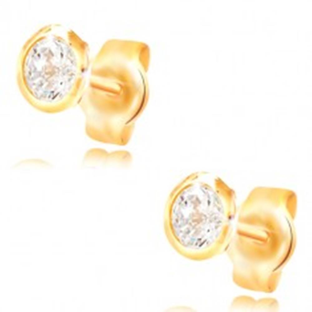 Šperky eshop Náušnice zo žltého zlata 585 - okrúhly číry zirkón v objímke, 5 mm