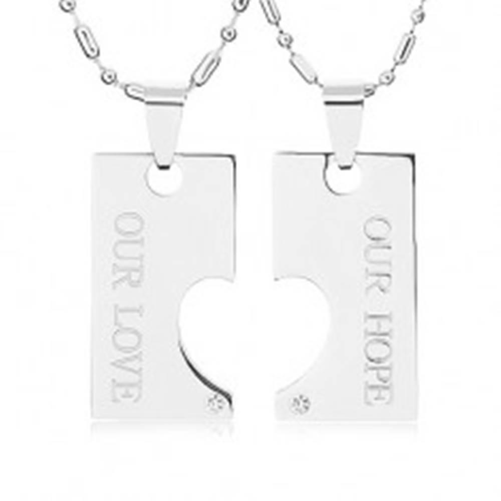 Šperky eshop Oceľové náhrdelníky pre dvoch, známka s výrezom polovičného srdca, nápis