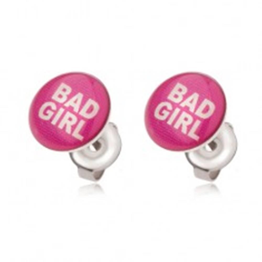 Šperky eshop Oceľové náušnice ružovej farby, Bad Girl