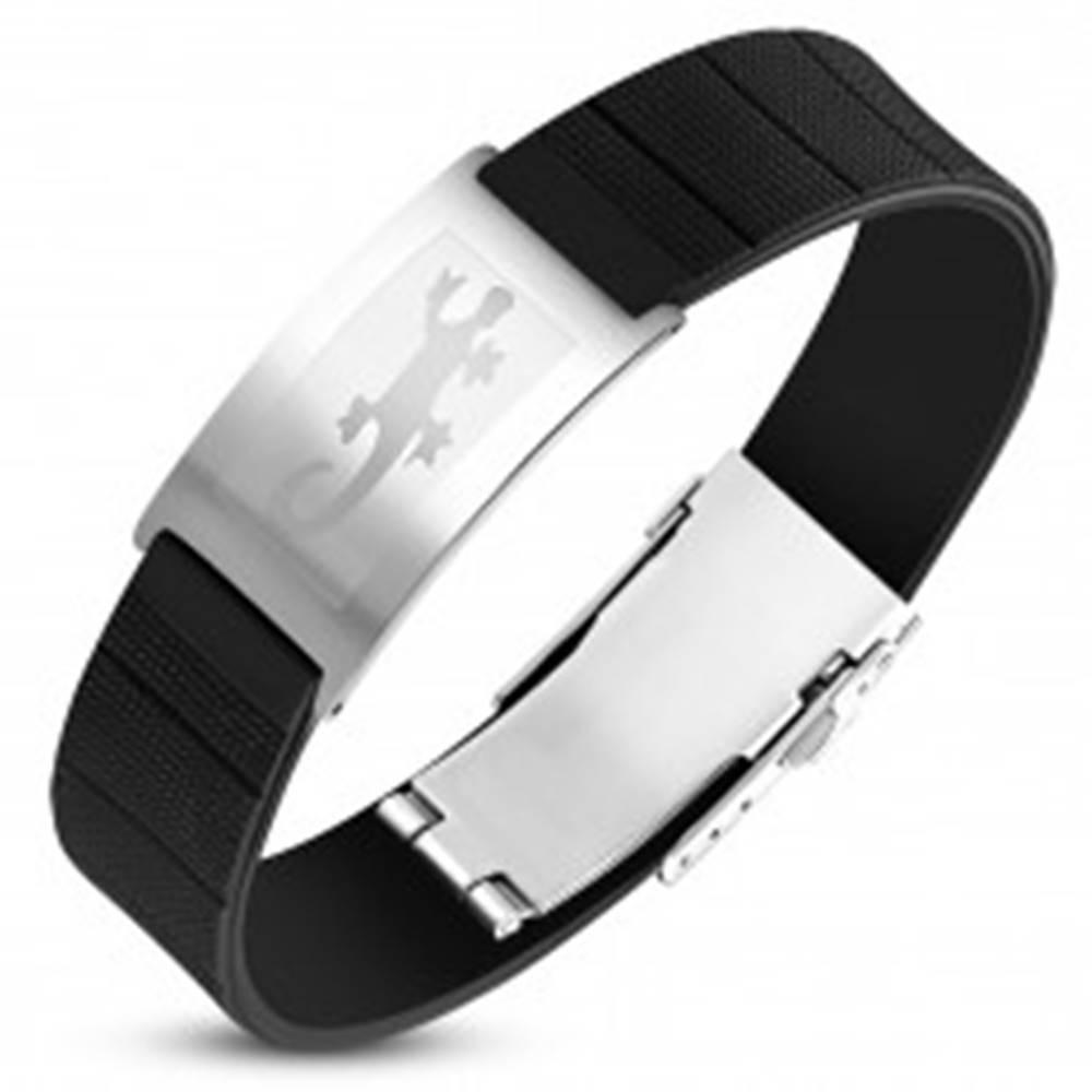 Šperky eshop Oceľovo-gumený náramok, čierny remienok so známkou striebornej farby, jašterica
