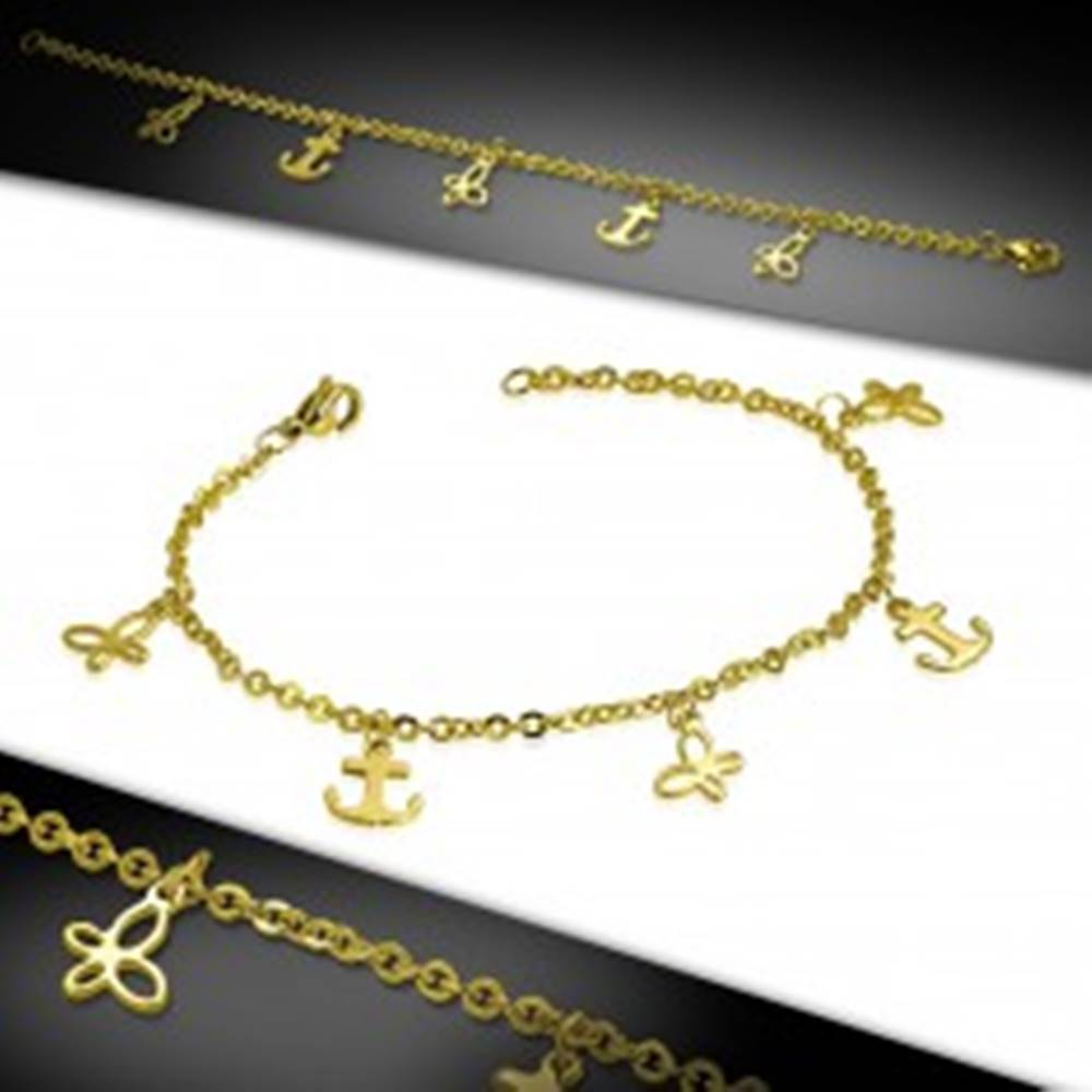 Šperky eshop Oceľový náramok zlatej farby, retiazka z oválnych očiek, kotvy a motýle