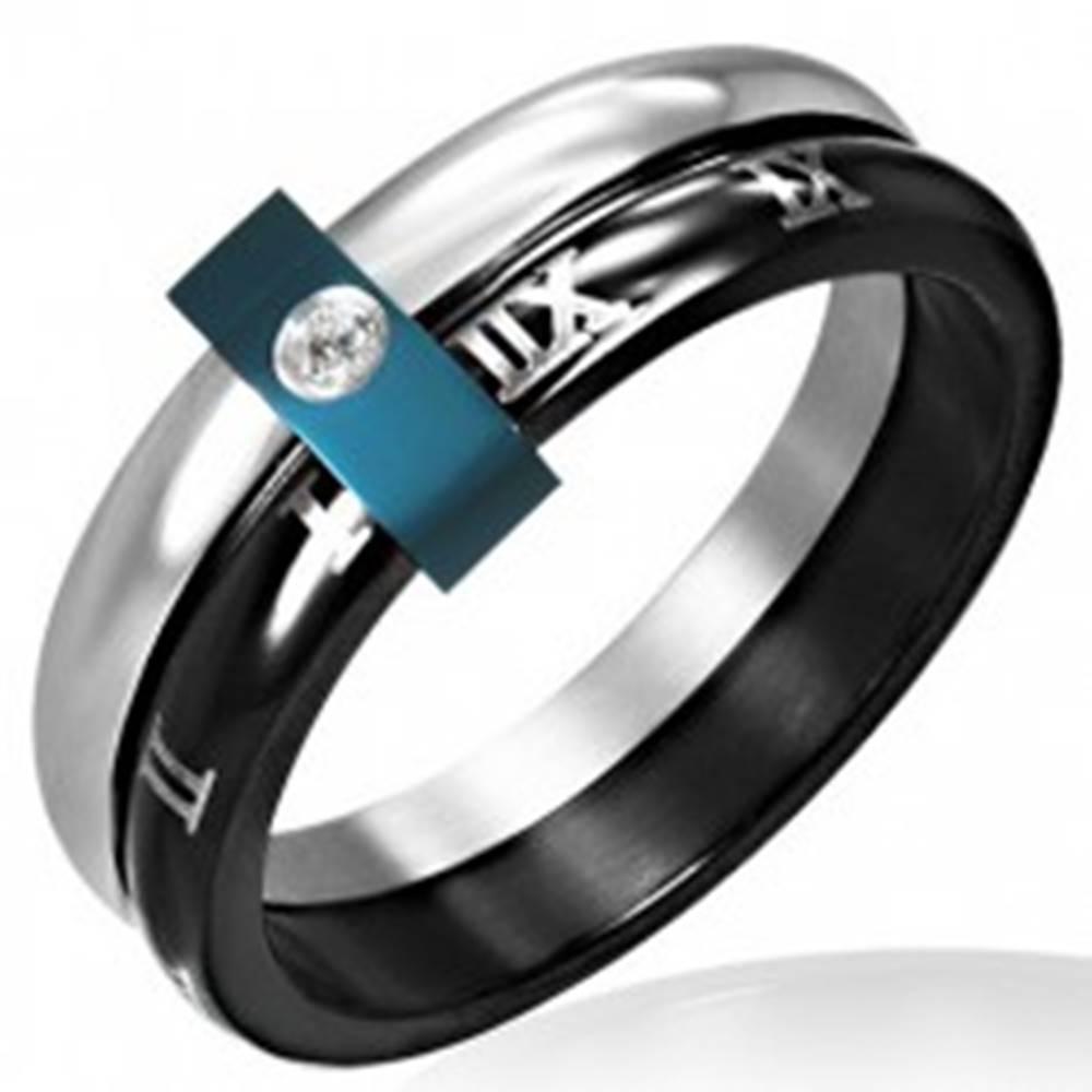 Šperky eshop Oceľový prsteň - dvojitý s rímskymi číslicami - Veľkosť: 49 mm