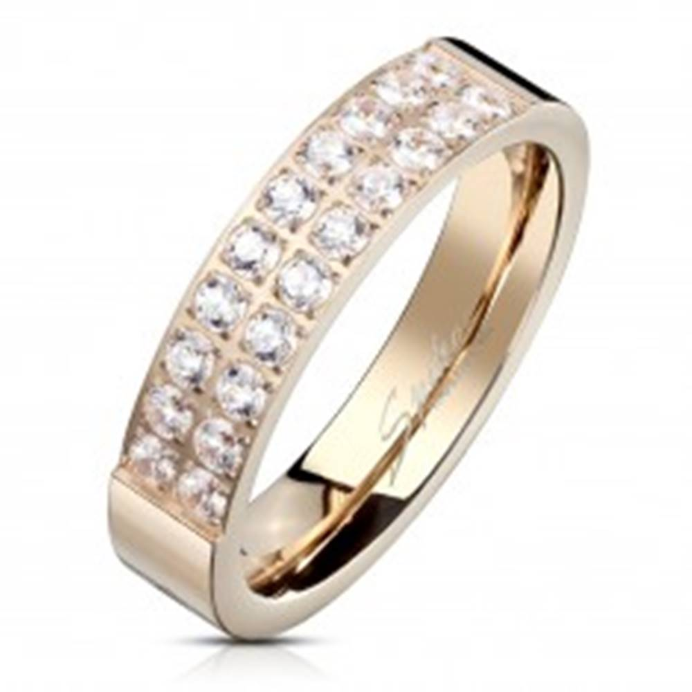 Šperky eshop Oceľový prsteň medenej farby, línie čírych zirkónov, lesklý povrch, 5 mm - Veľkosť: 49 mm