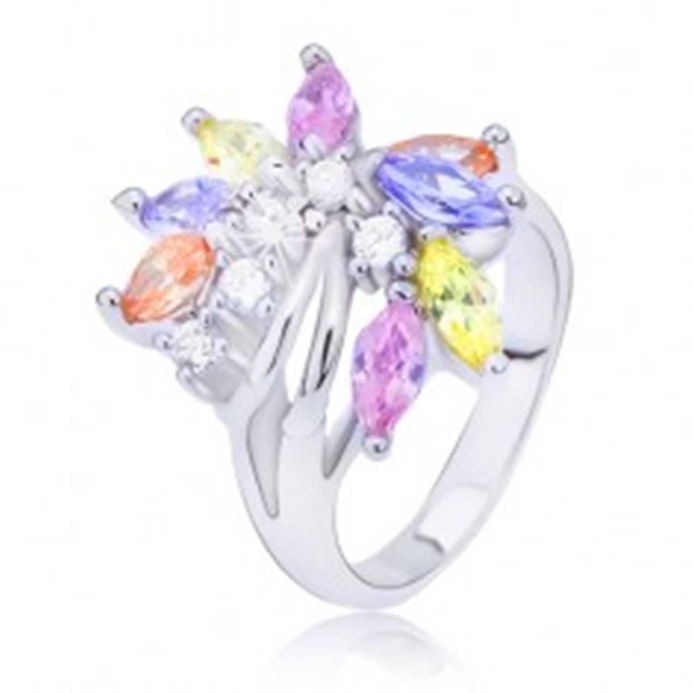 Šperky eshop Oceľový prsteň s farebným zirkónovým vejárom - Veľkosť: 48 mm