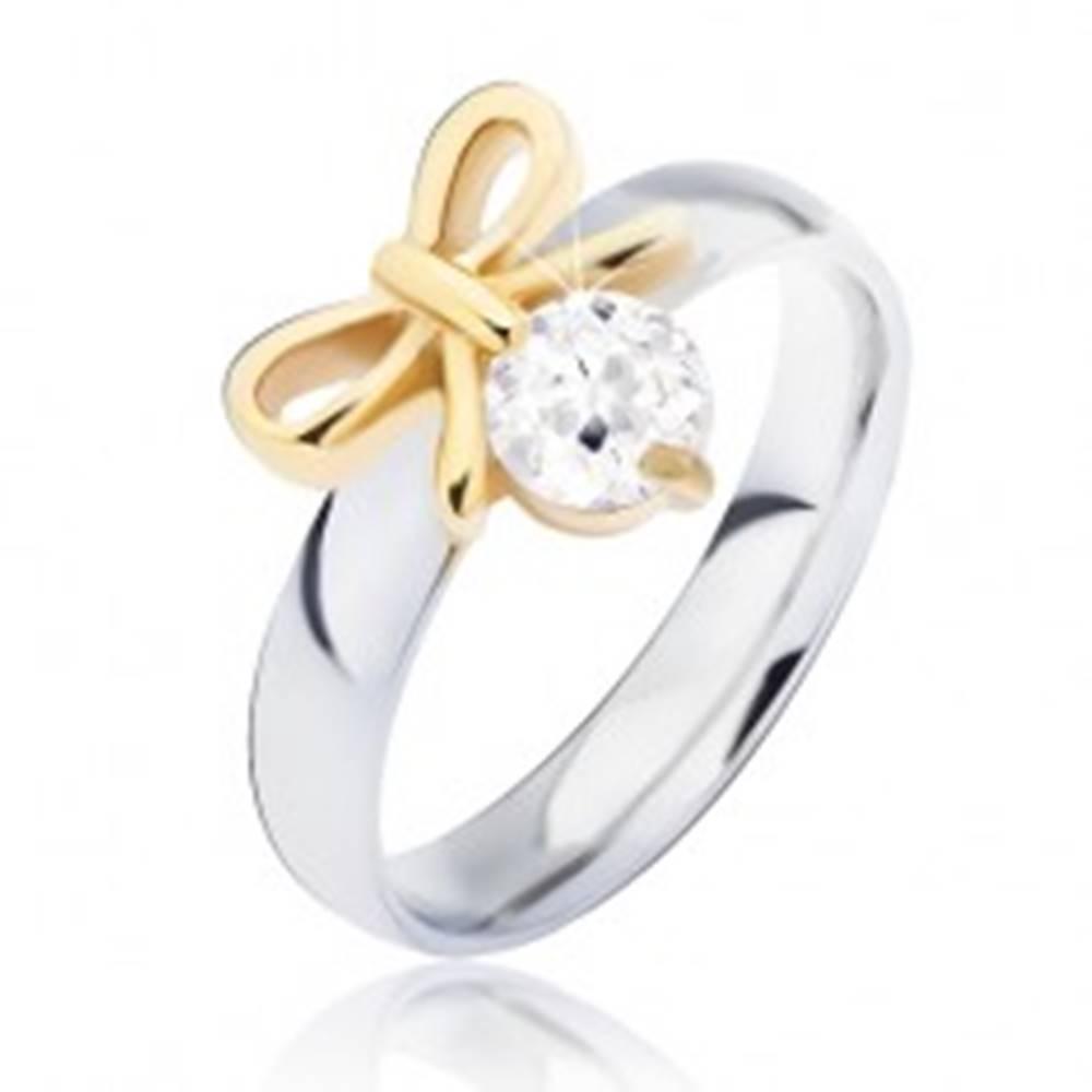 Šperky eshop Oceľový prsteň s mašličkou zlatej farby a čírym zirkónom - Veľkosť: 49 mm