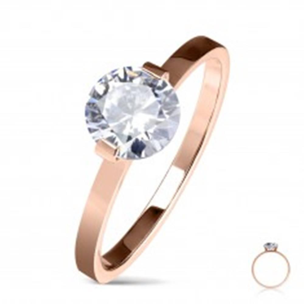 Šperky eshop Oceľový zásnubný prsteň medenej farby, okrúhly číry zirkón, lesklé ramená - Veľkosť: 50 mm