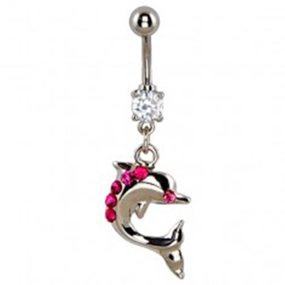 Šperky eshop Piercing do brucha - skáčuci delfín, ružové zirkóny na chrbte