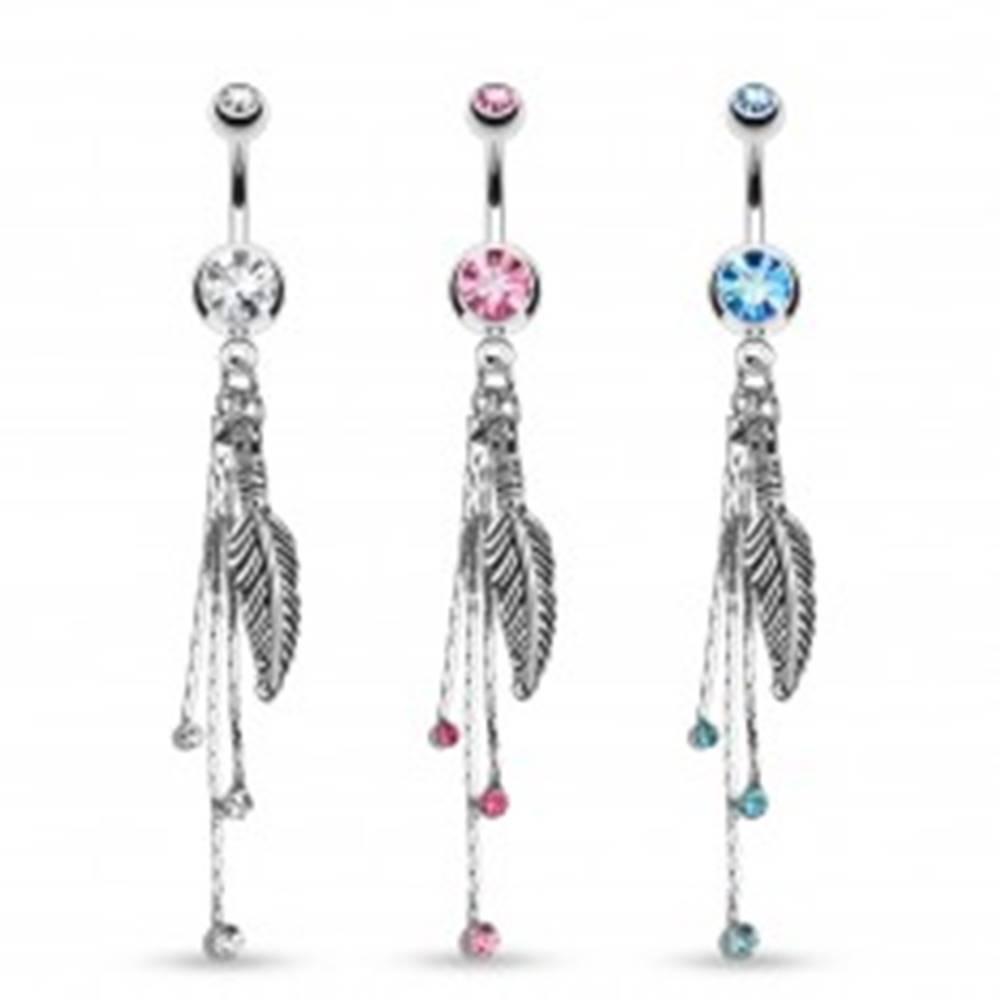 Šperky eshop Piercing do brucha striebornej farby, gravírované pierko, retiazky, farebné zirkóny - Farba zirkónu: Aqua modrá - Q