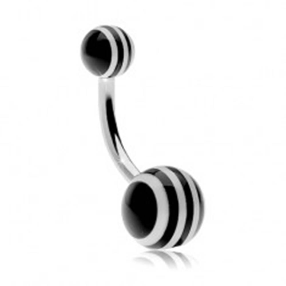 Šperky eshop Piercing do brucha z ocele 316L, guličky s čierno-bielymi pásikmi - Farba piercing: Čierna