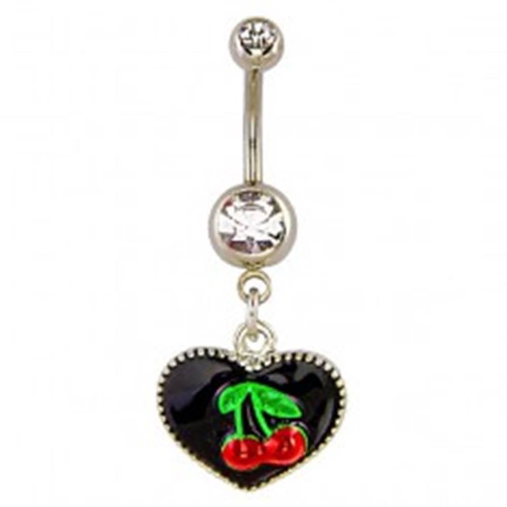 Šperky eshop Piercing do bruška - čierne smaltované srdiečko a čerešňa
