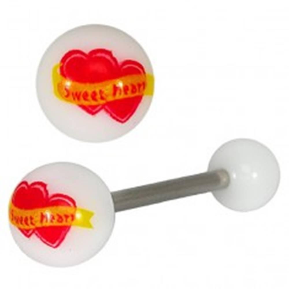 "Šperky eshop Piercing do jazyka - srdiečka ""Sweet Heart"""