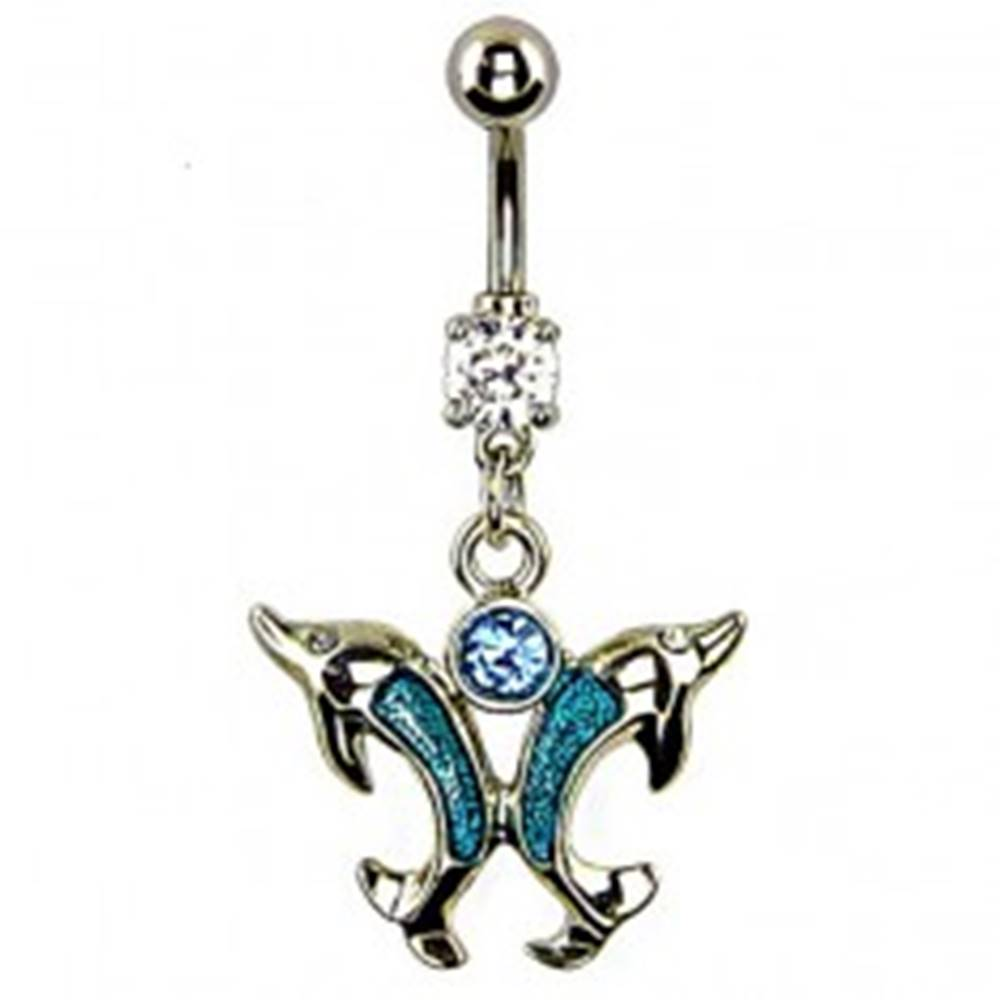 Šperky eshop Piercing do pupka - dva azúrové skákajúce delfíny, modrý zirkón
