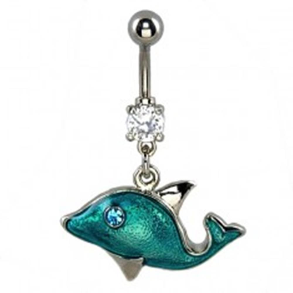 Šperky eshop Piercing do pupka - modrý delfín, zirkónové oko