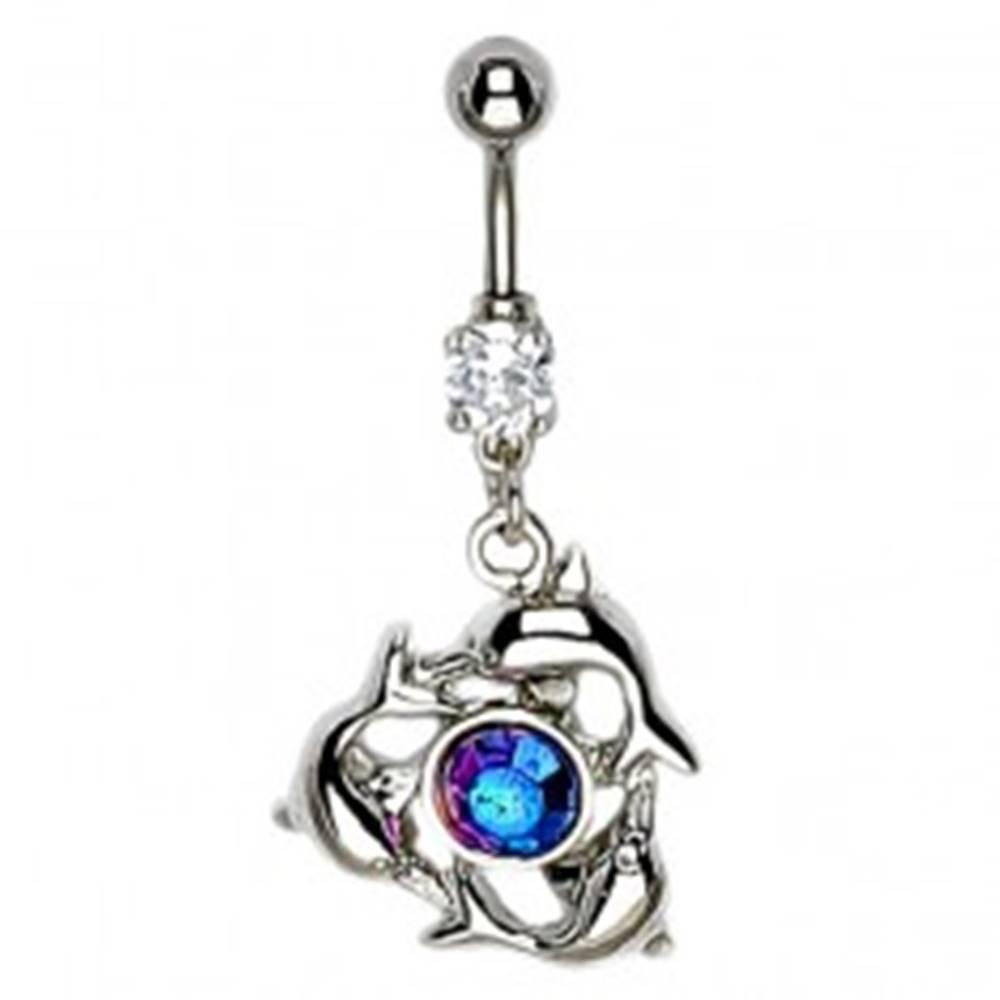 Šperky eshop Piercing do pupka - tri krúžiace delfíny, fialový anodizovaný kameň