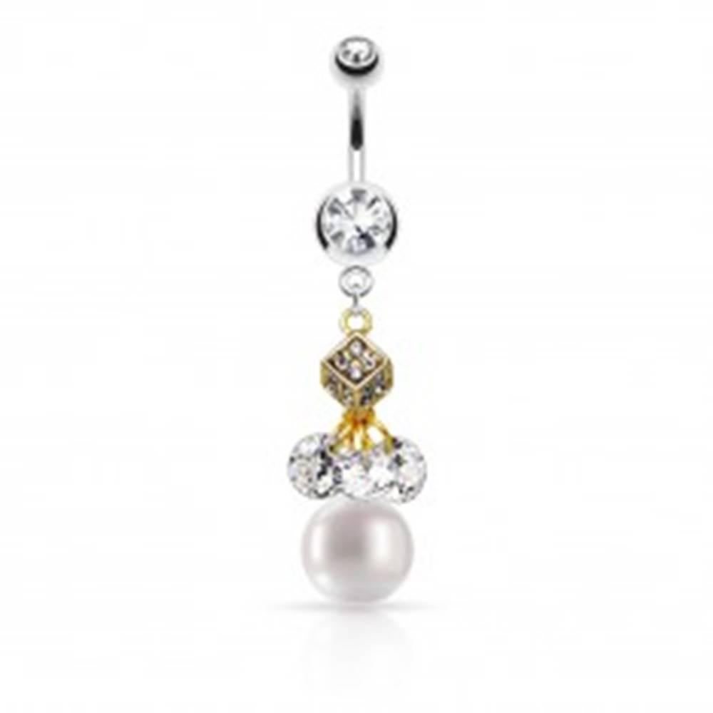 Šperky eshop Piercing do pupku z ocele 316L, kocka zlatej farby, číre zirkóny, biela gulička