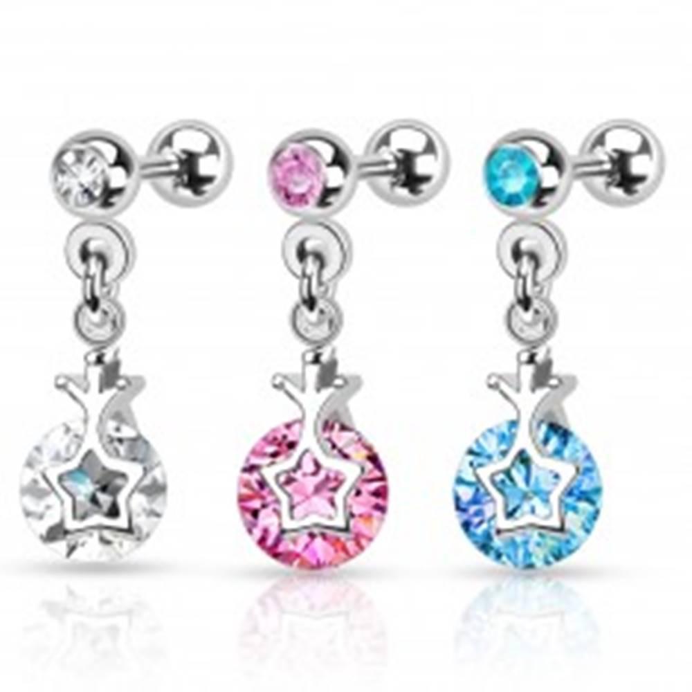 Šperky eshop Piercing do tragusu z ocele 316L, strieborná farba, okrúhle zirkóny, obrys hviezdy - Farba zirkónu: Aqua modrá - Q