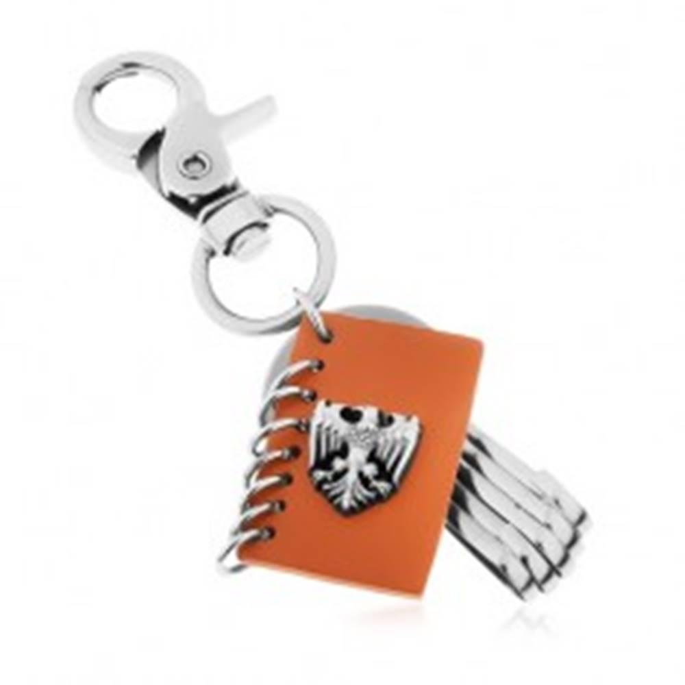 Šperky eshop Prívesok na kľúče s patinovaným povrchom, hnedá umelá koža, znak orla