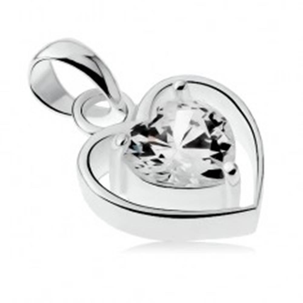 Šperky eshop Prívesok zo striebra 925, tenký obrys srdca, číre zirkónové srdiečko