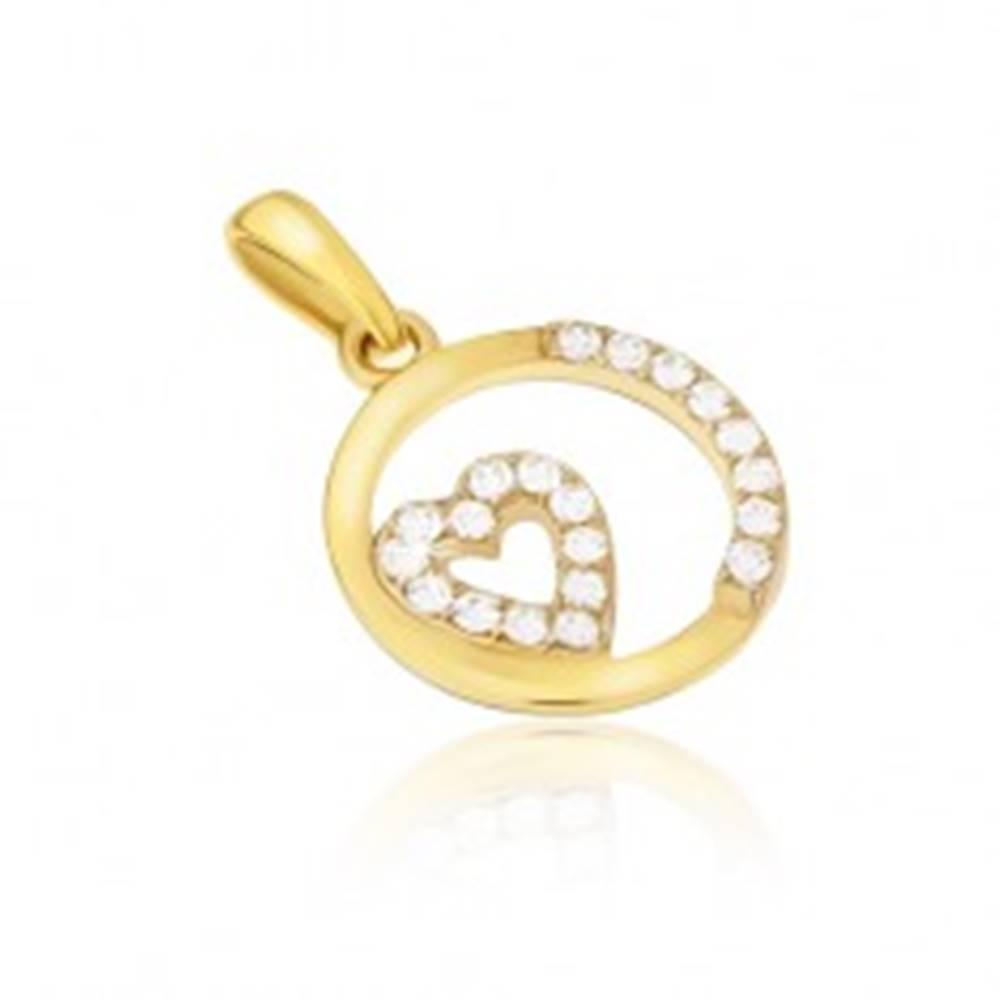 Šperky eshop Prívesok zo žltého 14K zlata - okrúhly rámček, zirkónové srdce, kamienky