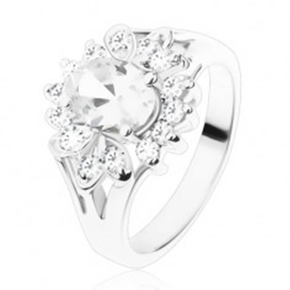 Šperky eshop Prsteň so striebornou farbou a rozdelenými ramenami, priezračné zirkóny - Veľkosť: 49 mm