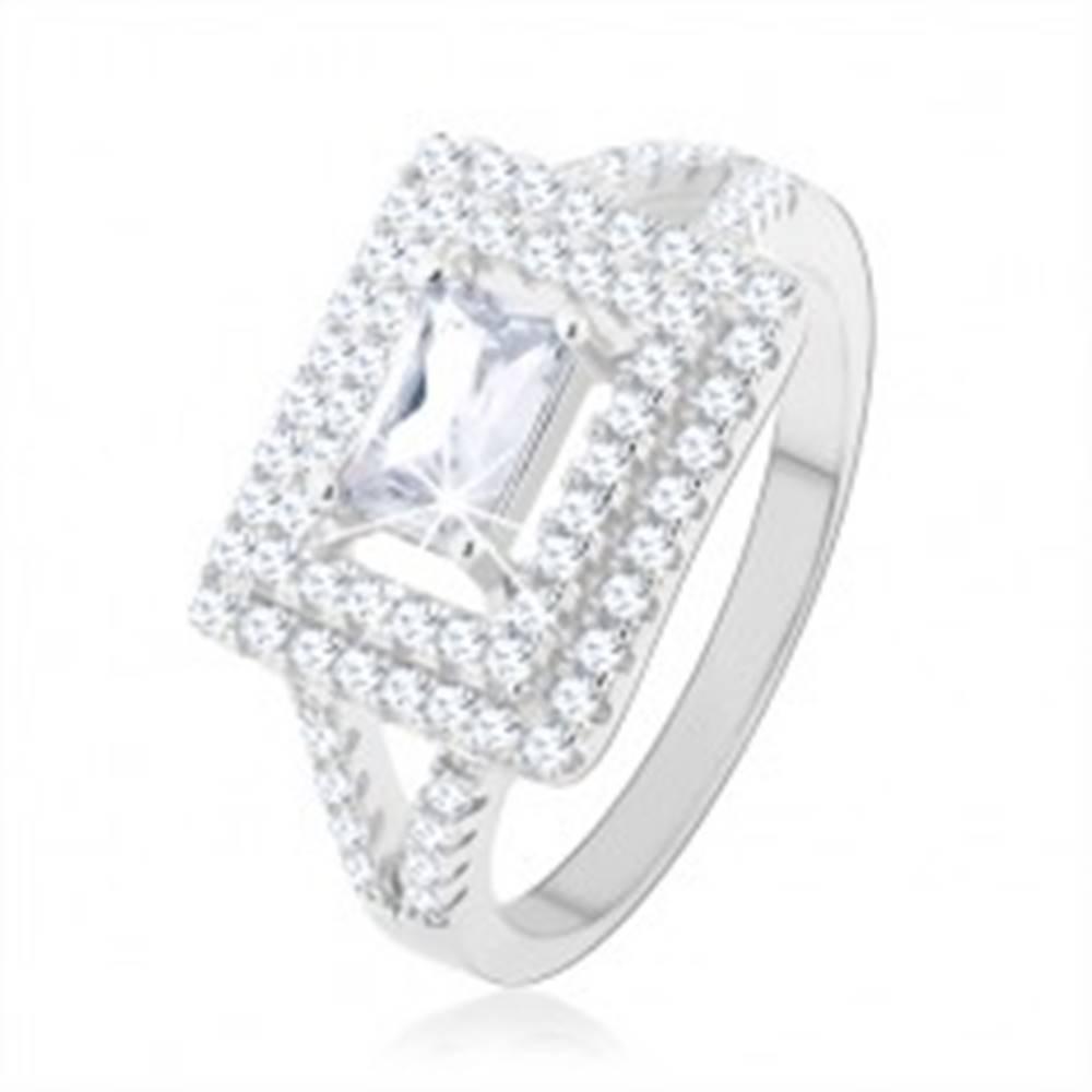 Šperky eshop Prsteň, striebro 925, číry zirkón - obdĺžnik, trblietavý lem, rozdvojené ramená - Veľkosť: 49 mm