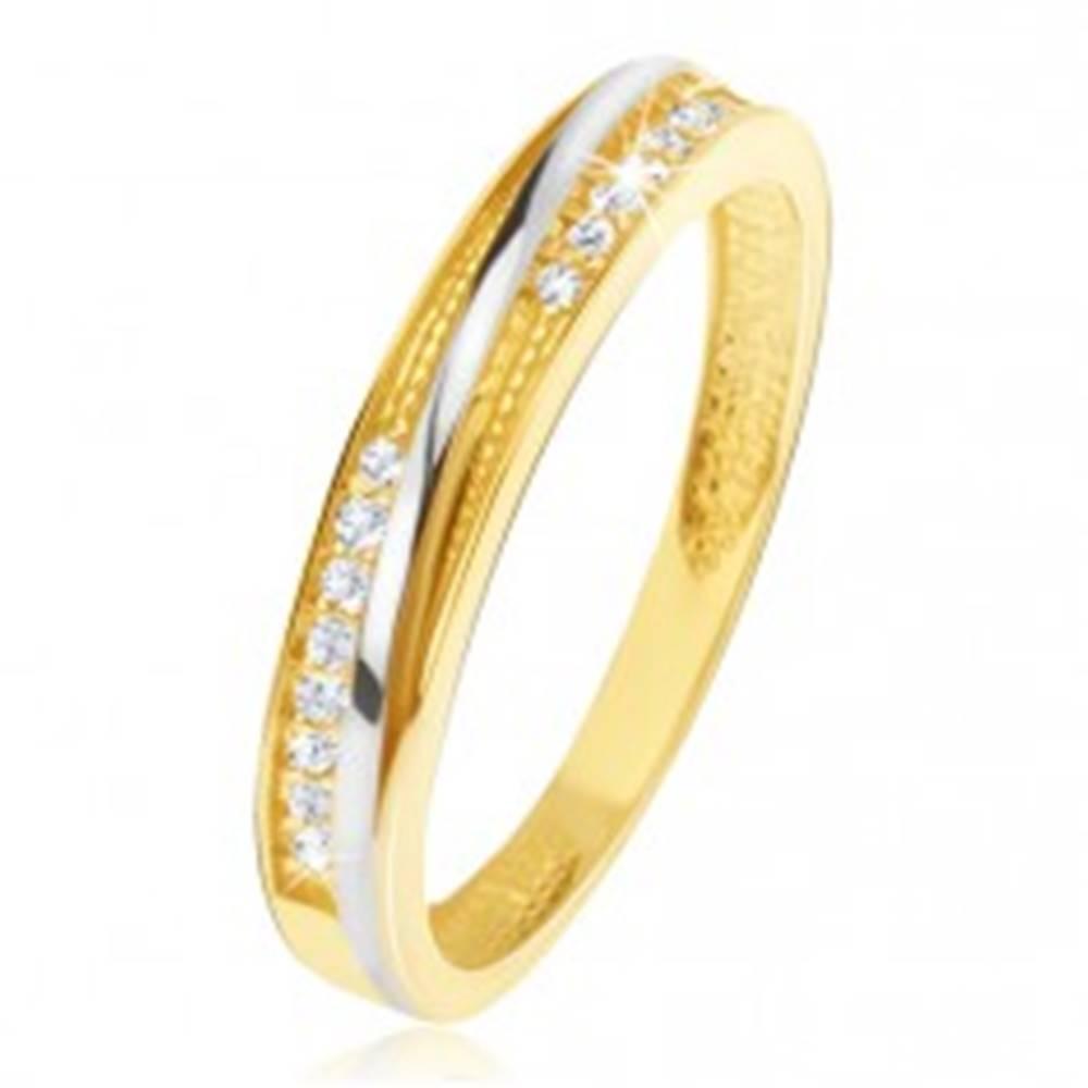 Šperky eshop Prsteň v žltom 14K zlate - ozdobné trojuholníkové zárezy, zirkóny - Veľkosť: 48 mm