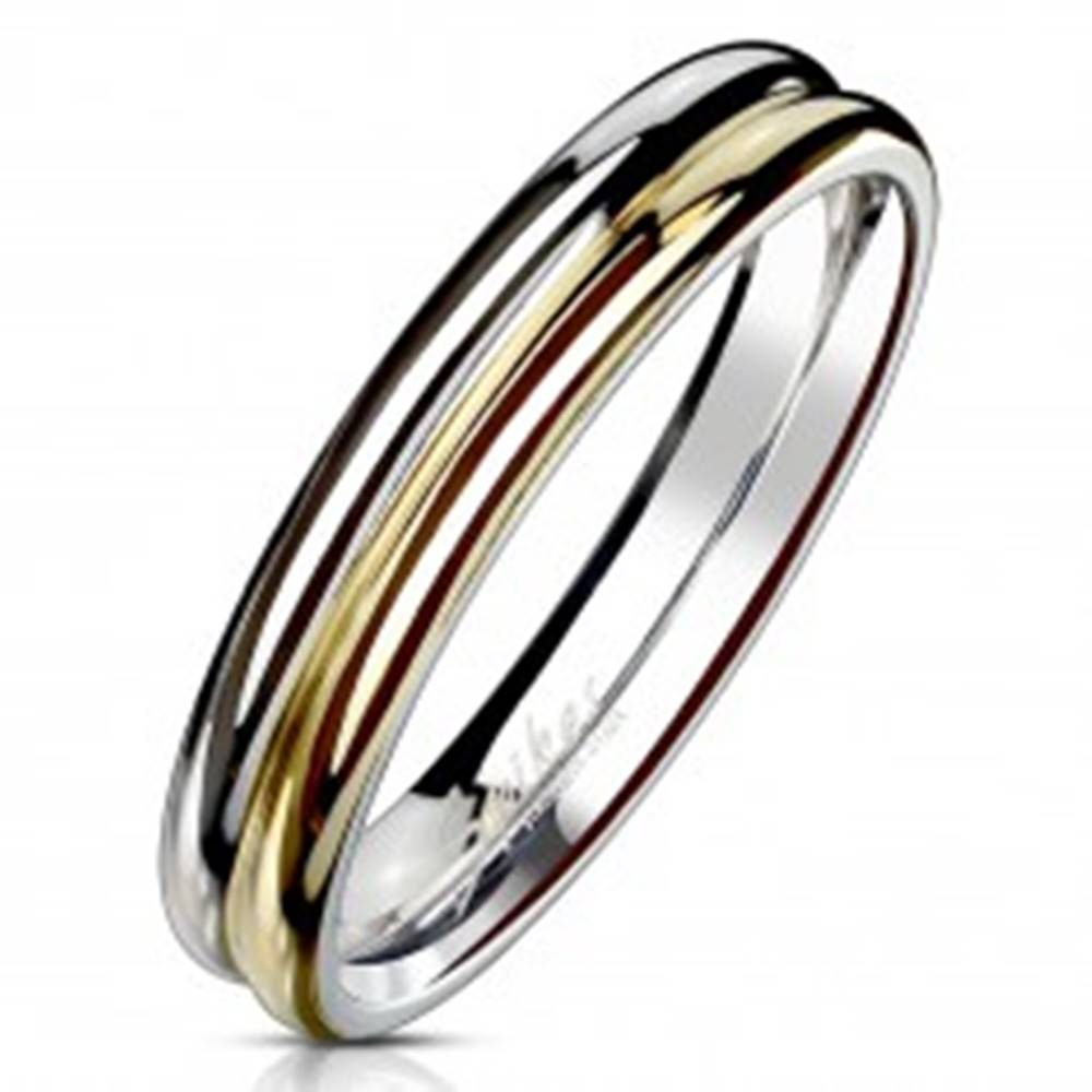 Šperky eshop Prsteň z ocele 316L - dvojfarebná obrúčka so zárezom v strede, 4 mm - Veľkosť: 49 mm