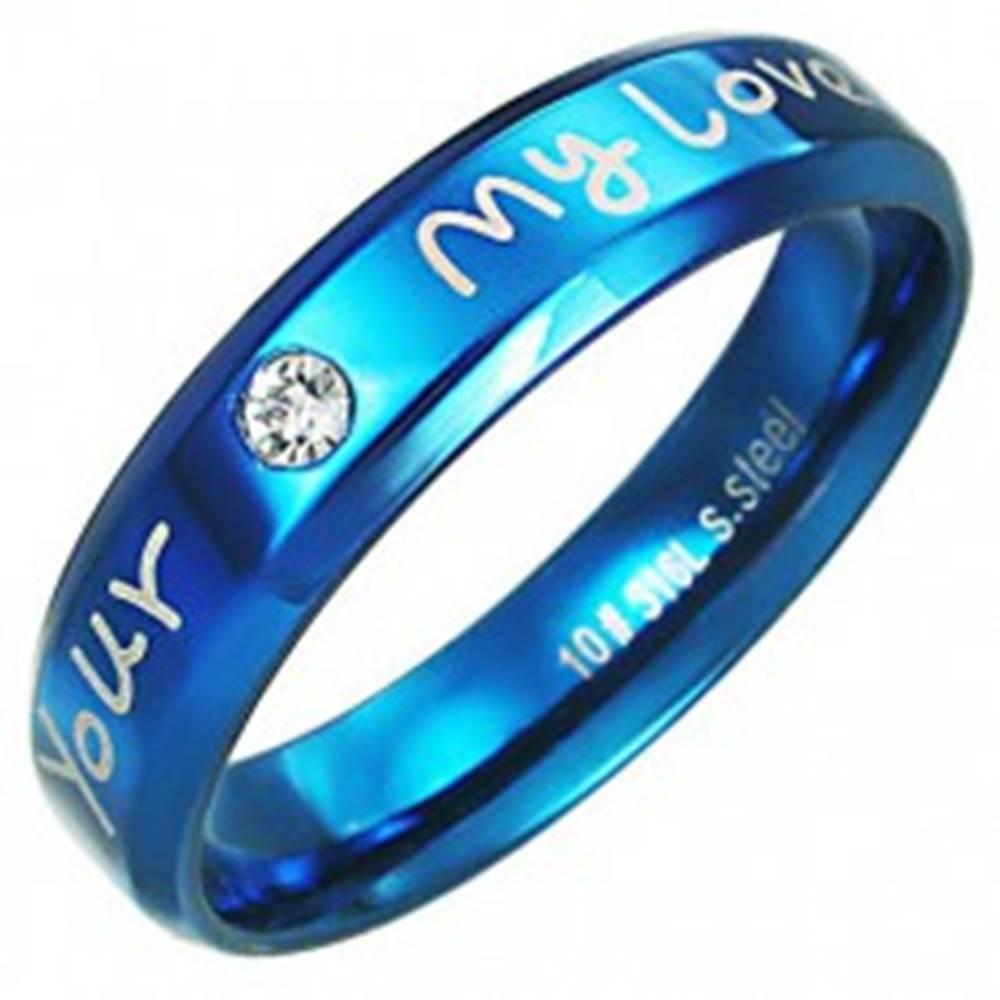 Šperky eshop Prsteň z ocele - modrá farba, zaľúbený nápis - Veľkosť: 51 mm