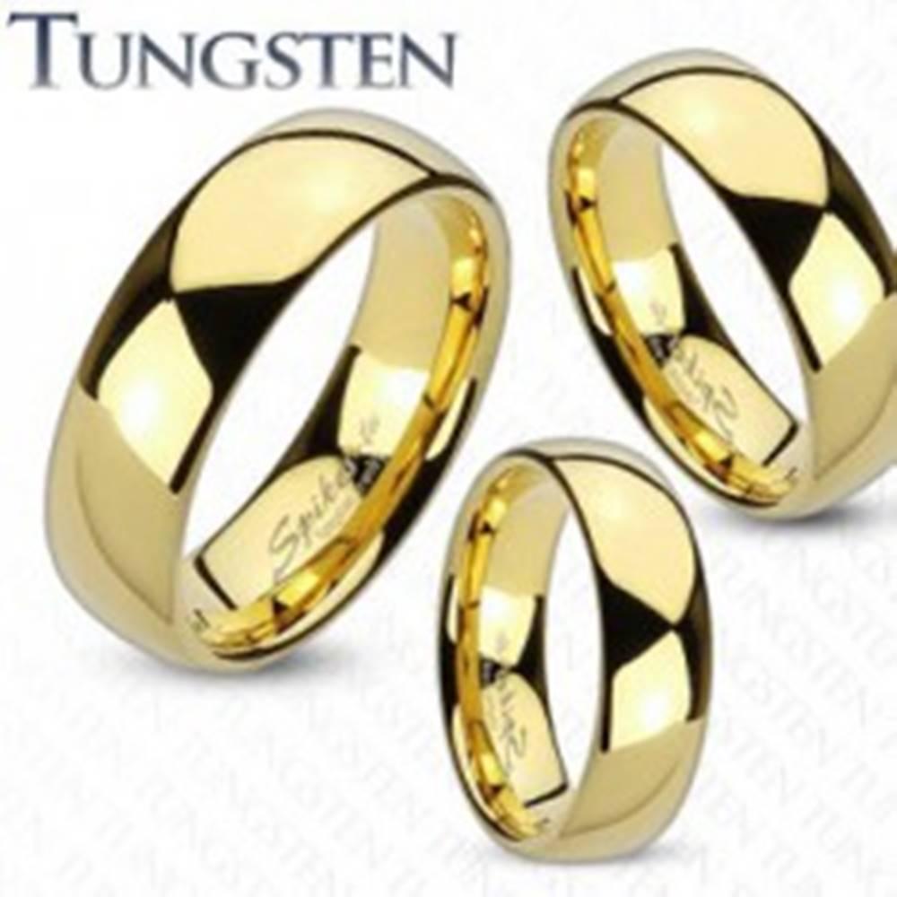 Šperky eshop Prsteň z tungstenu zlatej farby, lesklý a hladký povrch, 4 mm - Veľkosť: 49 mm