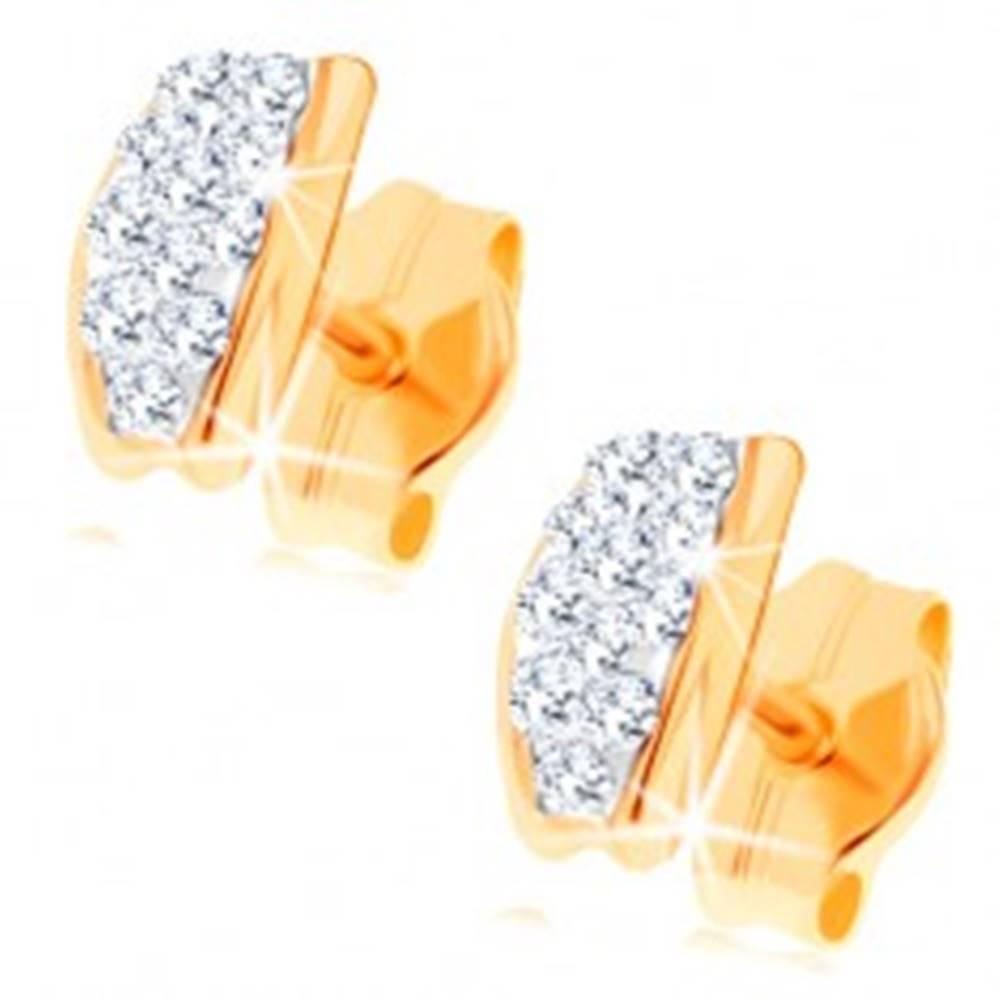 Šperky eshop Puzetové náušnice v žltom 14K zlate - oblúčik vykladaný Swarovského krištáľmi