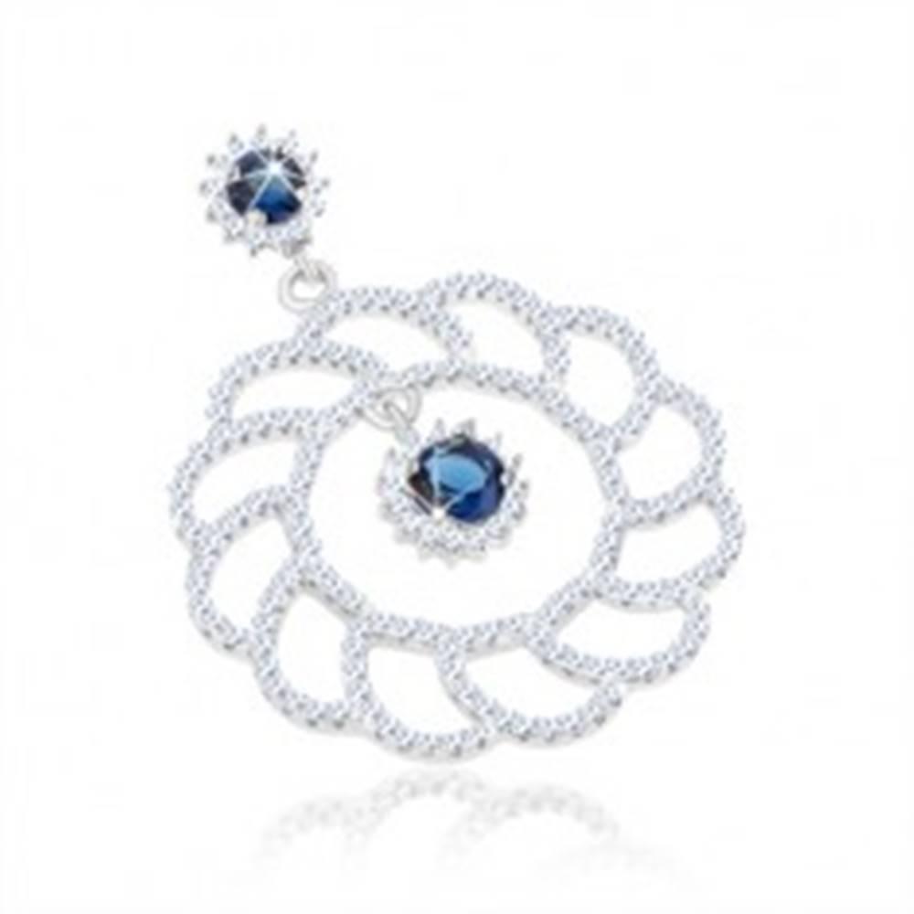 Šperky eshop Strieborný 925 prívesok, veľký ligotavý obrys kvetu, okrúhle modré zirkóny
