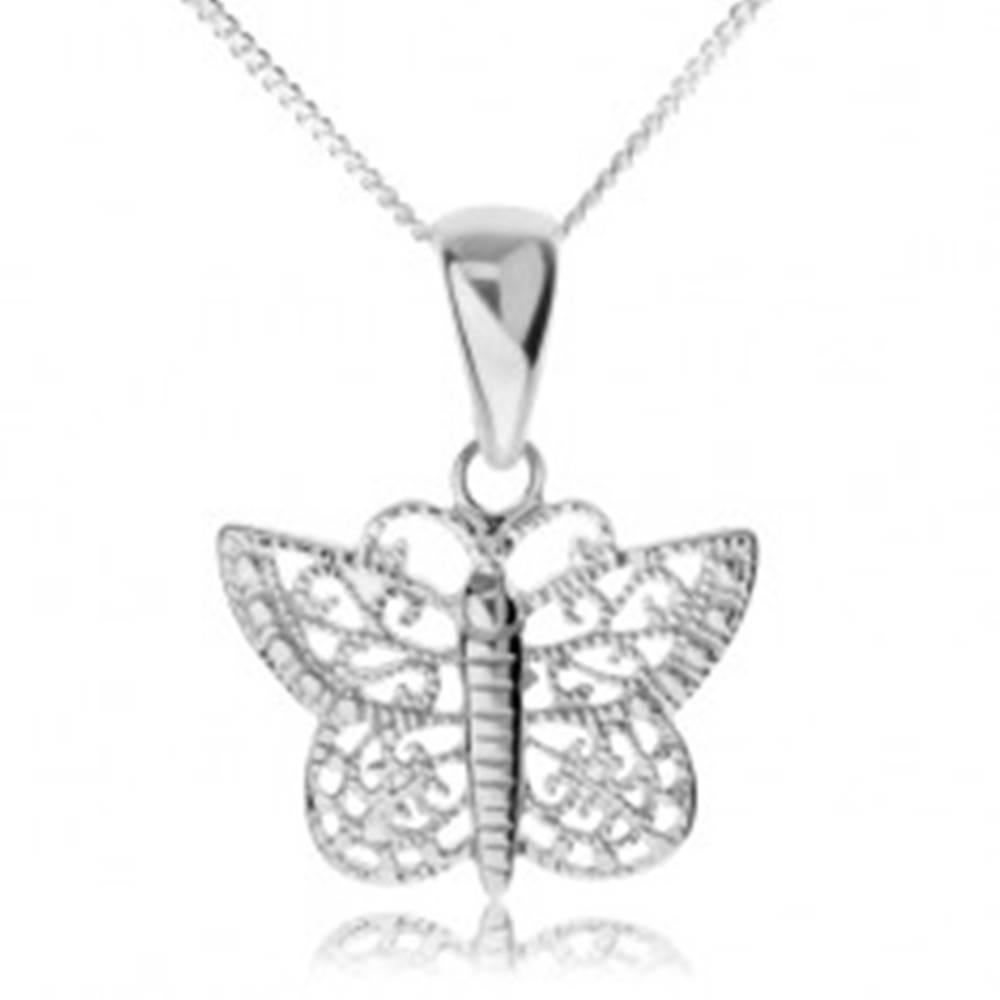 Šperky eshop Strieborný náhrdelník 925, ligotavý motýľ s filigránovými krídlami
