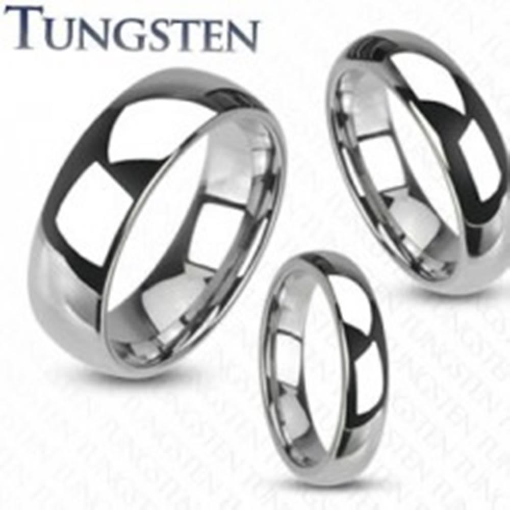 Šperky eshop Tungstenový prsteň - hladká lesklá obrúčka striebornej farby, 8 mm - Veľkosť: 49 mm