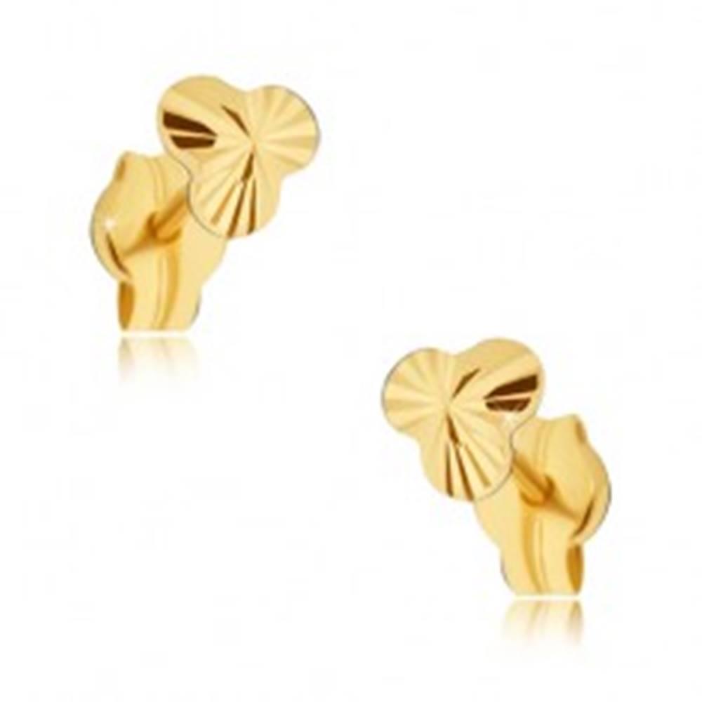 Šperky eshop Zlaté náušnice 585 - drobný trblietavý trojlístok s lúčovitým ryhovaním