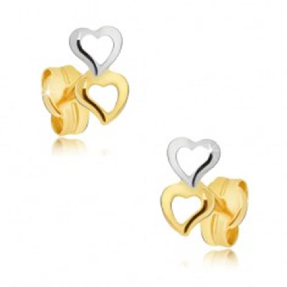 Šperky eshop Zlaté náušnice 585 - dvojfarebné obrysy nepravidelných srdiečok