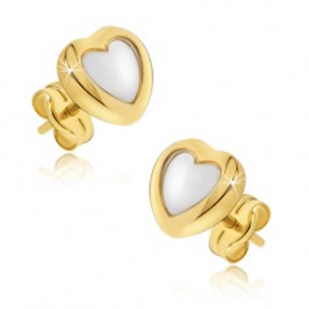 Šperky eshop Zlaté náušnice 585 - dvojfarebné pravidelné srdcia, lesklý zaoblený povrch
