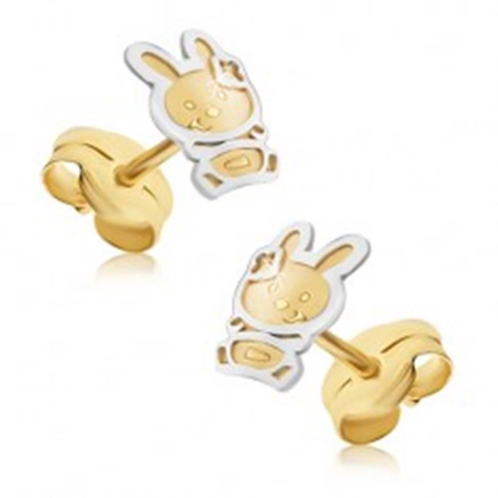 Šperky eshop Zlaté náušnice 585 - dvojfarebný zajačik so saténovým povrchom, lesklá kontúra