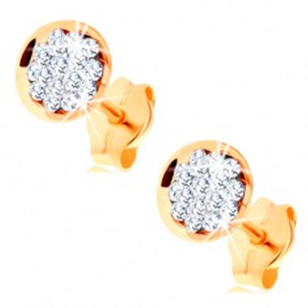 Šperky eshop Zlaté náušnice 585 - kruh vykladaný čírymi krištálikmi Swarovski