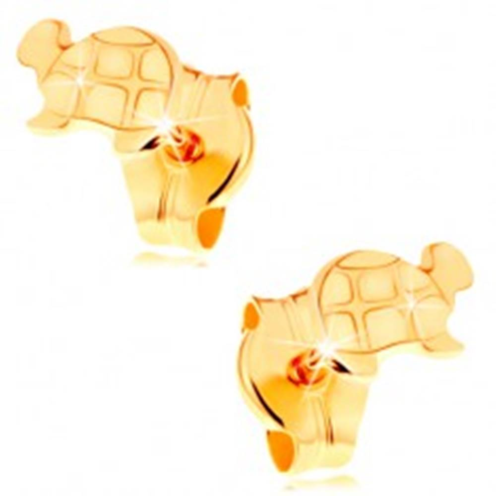 Šperky eshop Zlaté náušnice 585 - lesklá korytnačka s gravírovanými detailmi