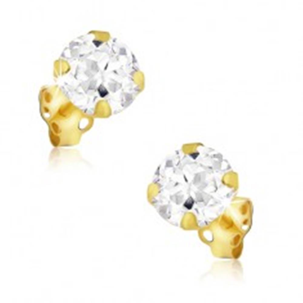 Šperky eshop Zlaté náušnice 585 - veľký ozdobne vybrúsený okrúhly zirkón, 4 mm