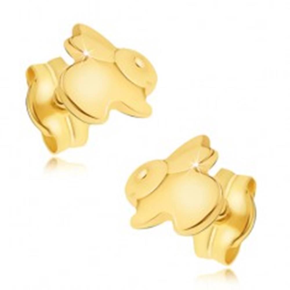 Šperky eshop Zlaté náušnice 585 - zrkadlovolesklý skákajúci zajačik