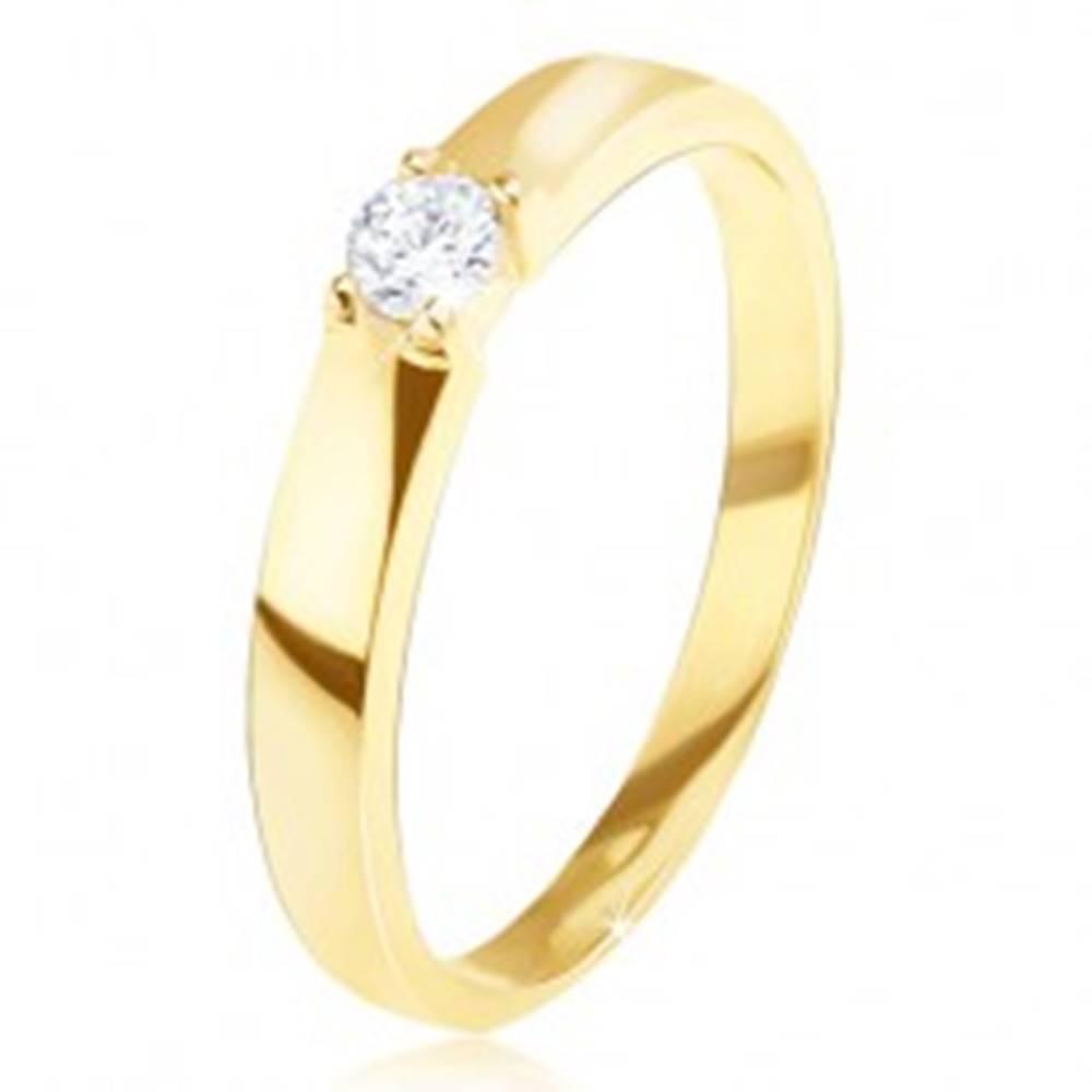 Šperky eshop Zlatý prsteň 585 - lesklý, hladký, okrúhly číry zirkón v kotlíku - Veľkosť: 49 mm